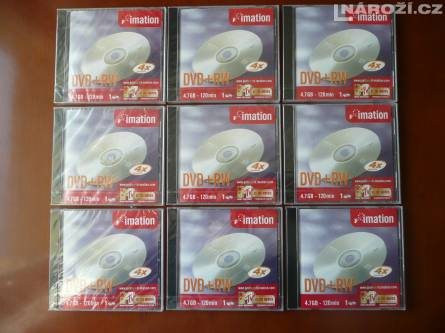 9x nove medium IMATION DVD+RW 4.7GB