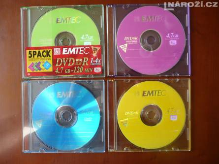 3x nove medium EMTEC DVD+R 4.7GB + 1x DVD-R