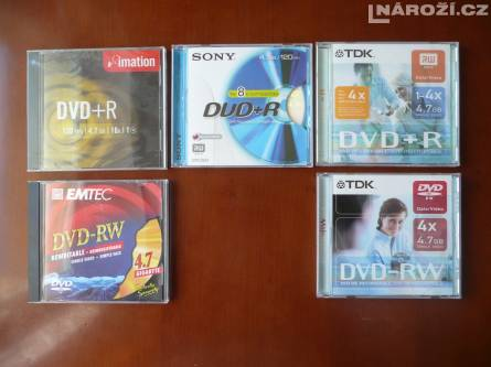 5x nove medium SONY' EMTEC' TDK' IMATION DVD+R a DVD-RW